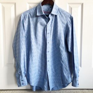 Robert Graham Blue Diamond Cotton Button Down Sz L